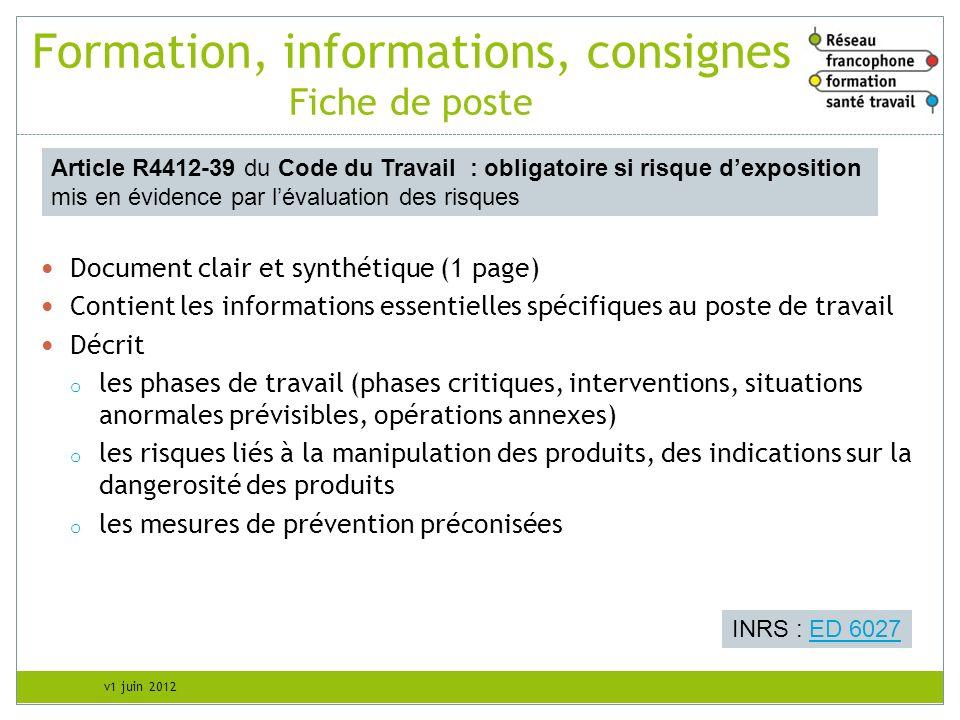 v1 juin 2012 Formation, informations, consignes Fiche de poste Document clair et synthétique (1 page) Contient les informations essentielles spécifiqu