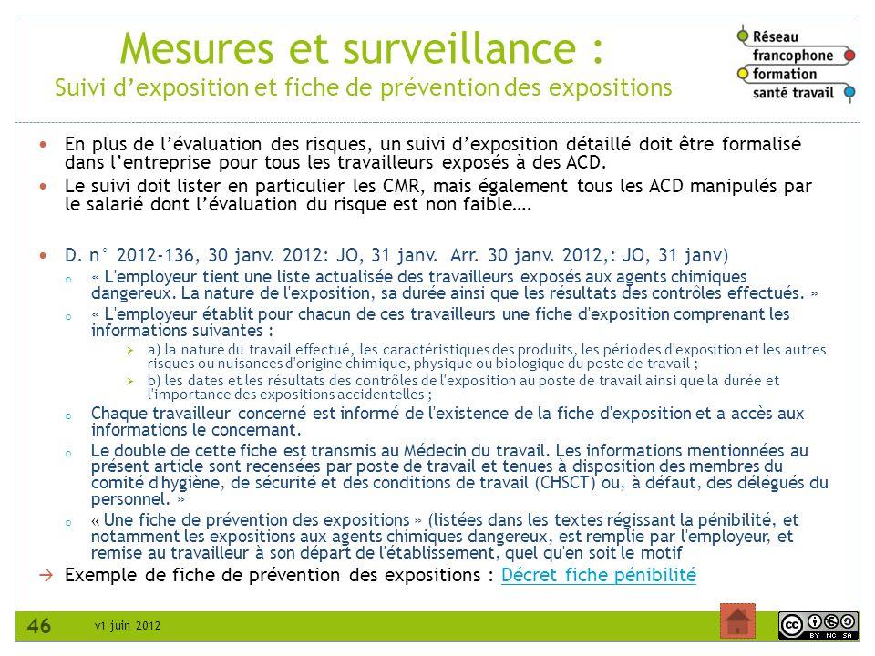 v1 juin 2012 Mesures et surveillance : Suivi dexposition et fiche de prévention des expositions 46 En plus de lévaluation des risques, un suivi dexpos