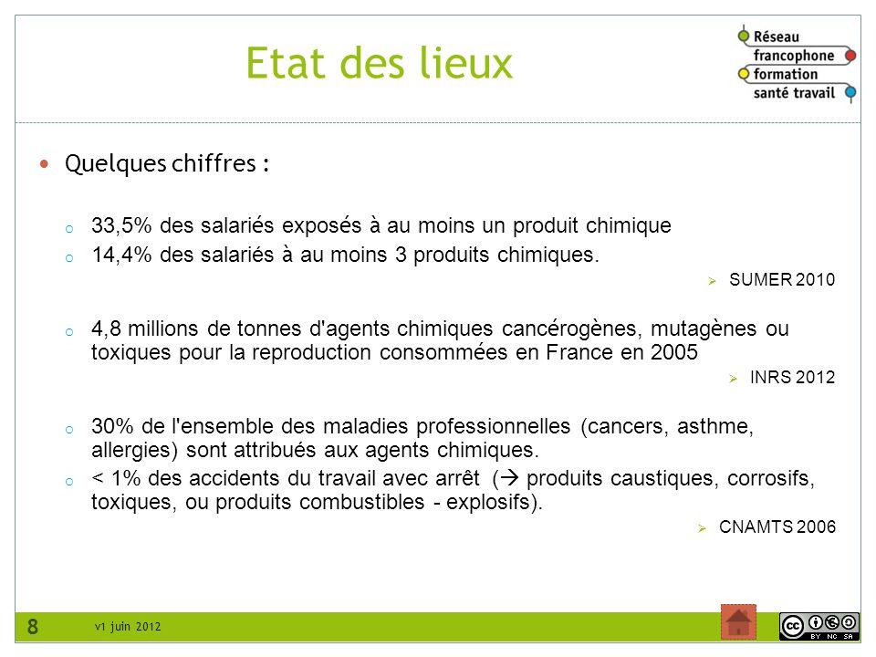 v1 juin 2012 Etat des lieux Quelques chiffres : o 33,5% des salari é s expos é s à au moins un produit chimique o 14,4% des salariés à au moins 3 prod