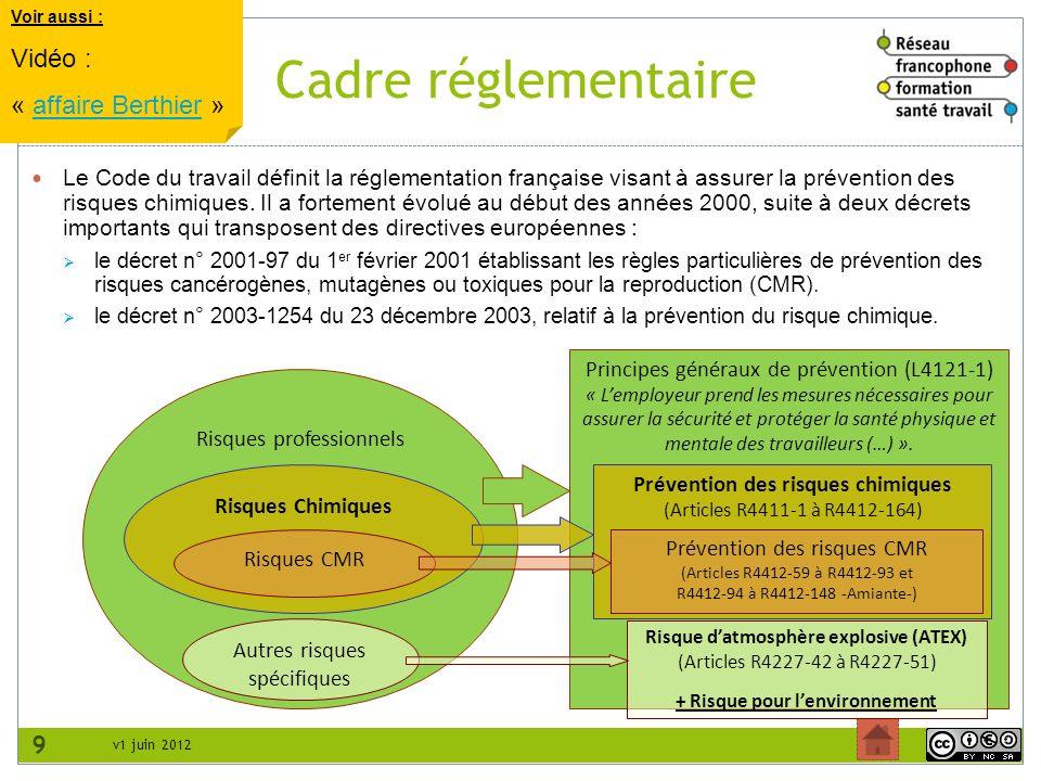 v1 juin 2012 Cadre réglementaire 9 Le Code du travail définit la réglementation française visant à assurer la prévention des risques chimiques. Il a f