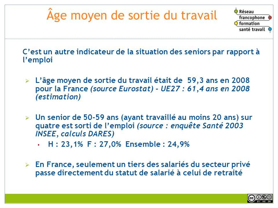 Âge moyen de sortie du travail Cest un autre indicateur de la situation des seniors par rapport à lemploi Lâge moyen de sortie du travail était de 59,