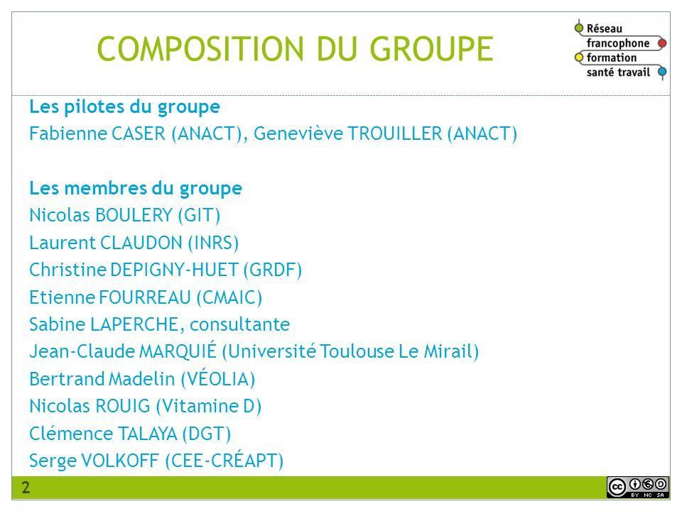 COMPOSITION DU GROUPE Les pilotes du groupe Fabienne CASER (ANACT), Geneviève TROUILLER (ANACT) Les membres du groupe Nicolas BOULERY (GIT) Laurent CL