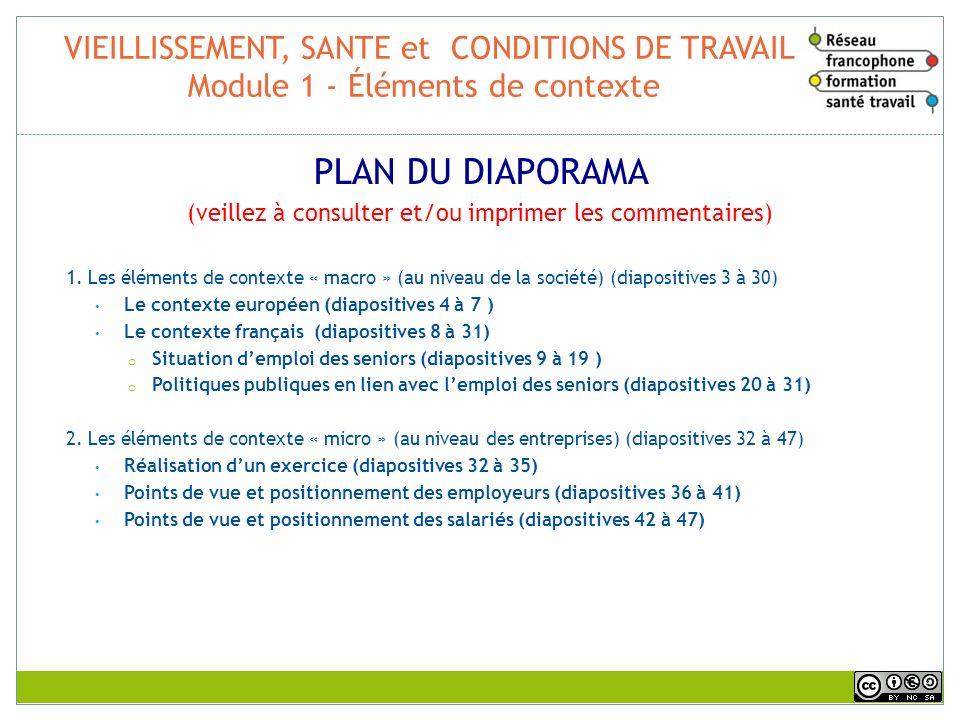 VIEILLISSEMENT, SANTE et CONDITIONS DE TRAVAIL Module 1 - Éléments de contexte PLAN DU DIAPORAMA (veillez à consulter et/ou imprimer les commentaires)