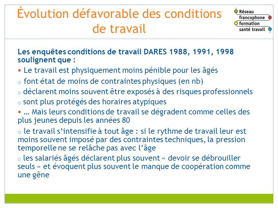 Évolution défavorable des conditions de travail Les enquêtes conditions de travail DARES 1988, 1991, 1998 soulignent que : Le travail est physiquement