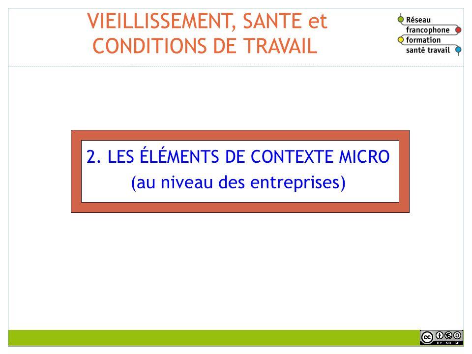 VIEILLISSEMENT, SANTE et CONDITIONS DE TRAVAIL 2. LES ÉLÉMENTS DE CONTEXTE MICRO (au niveau des entreprises)