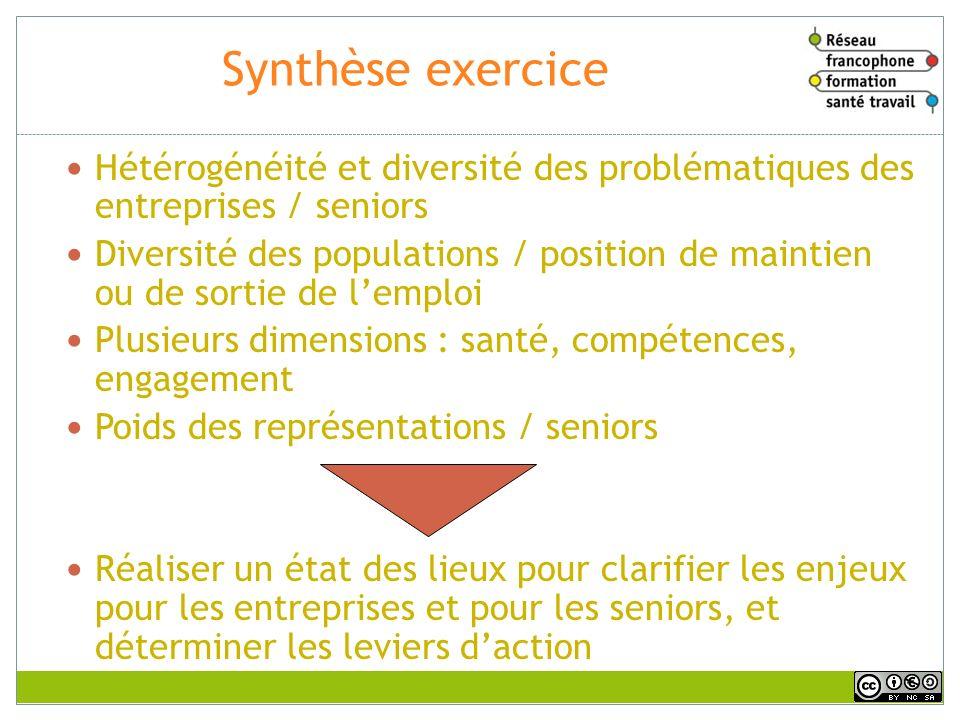 Synthèse exercice Hétérogénéité et diversité des problématiques des entreprises / seniors Diversité des populations / position de maintien ou de sorti