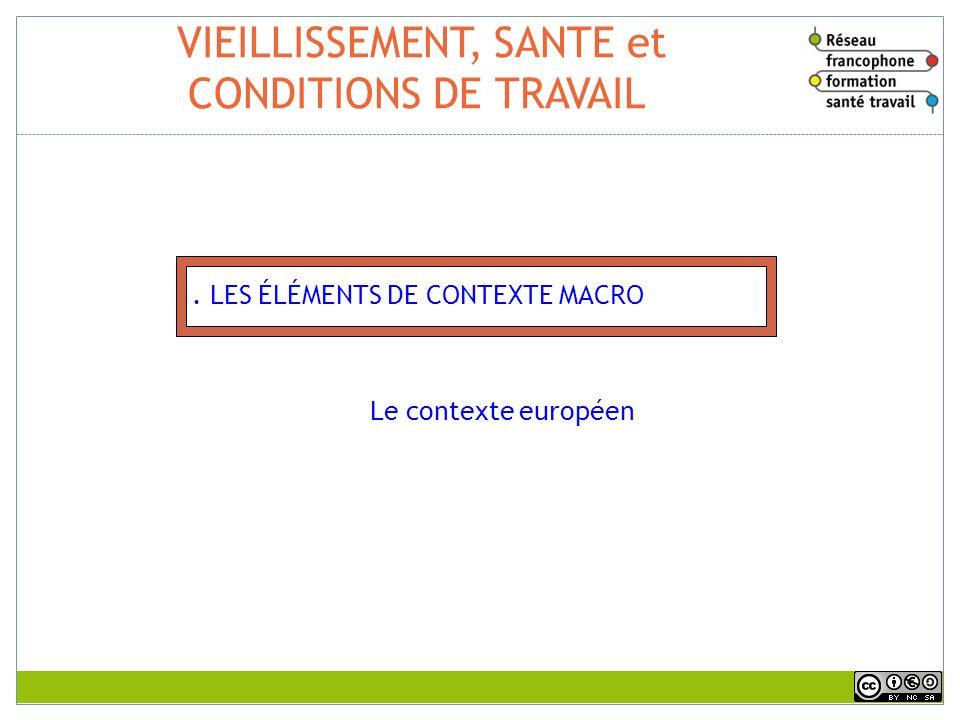 VIEILLISSEMENT, SANTE et CONDITIONS DE TRAVAIL 1. LES ÉLÉMENTS DE CONTEXTE MACRO Le contexte européen