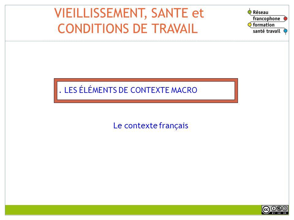 VIEILLISSEMENT, SANTE et CONDITIONS DE TRAVAIL 1. LES ÉLÉMENTS DE CONTEXTE MACRO Le contexte français