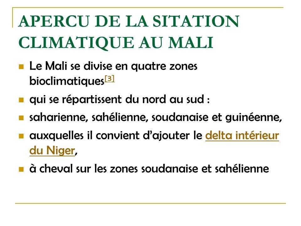 APERCU DE LA SITATION CLIMATIQUE AU MALI Le Mali se divise en quatre zones bioclimatiques [3] [3] qui se répartissent du nord au sud : saharienne, sah