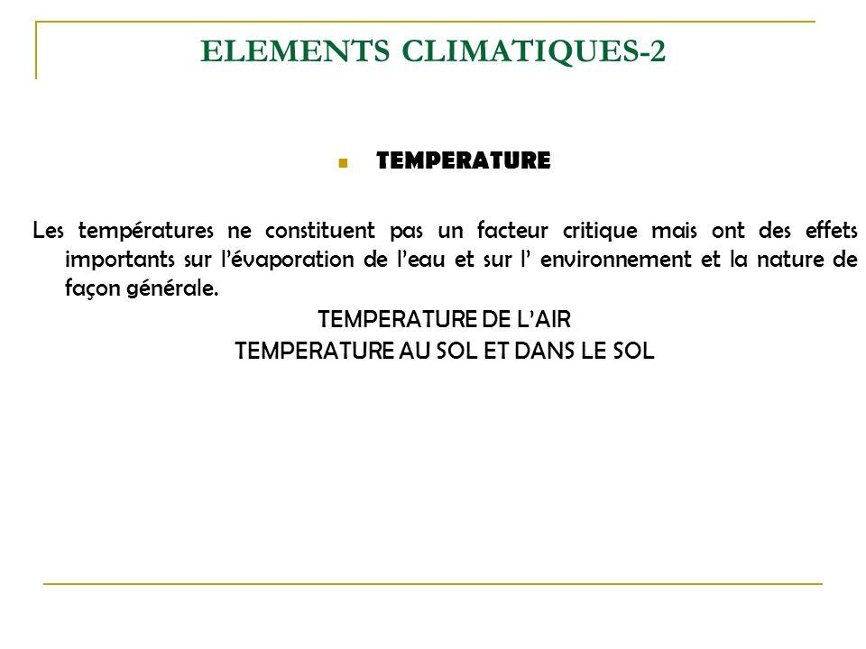 ELEMENTS CLIMATIQUES-2 TEMPERATURE Les températures ne constituent pas un facteur critique mais ont des effets importants sur lévaporation de leau et