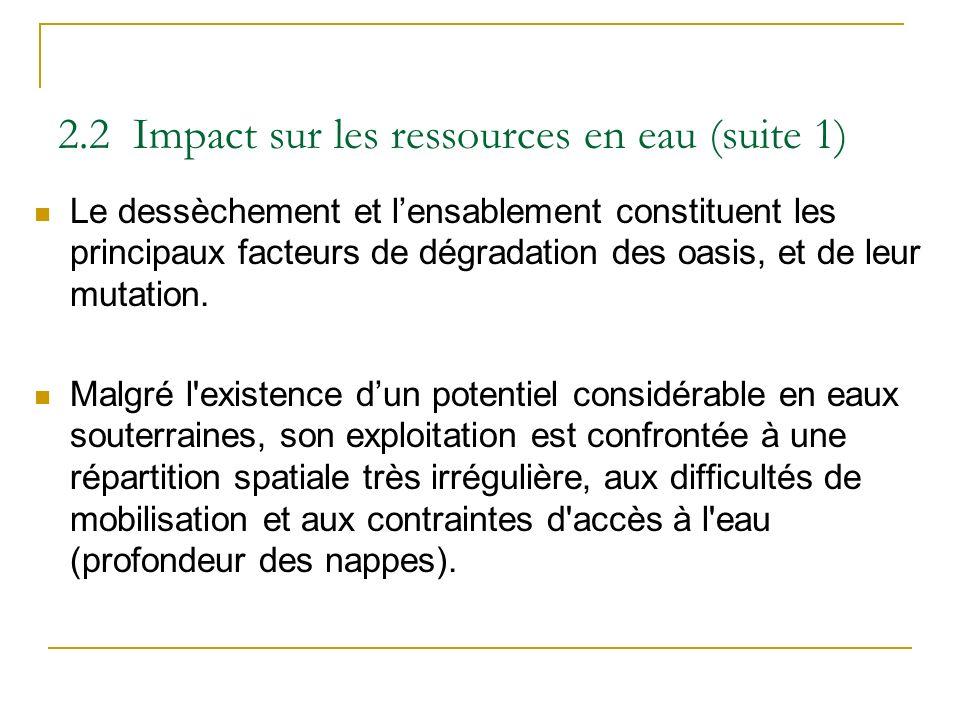 2.2 Impact sur les ressources en eau (suite 1) Le dessèchement et lensablement constituent les principaux facteurs de dégradation des oasis, et de leu