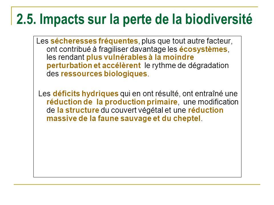 2.5. Impacts sur la perte de la biodiversité Les sécheresses fréquentes, plus que tout autre facteur, ont contribué à fragiliser davantage les écosyst