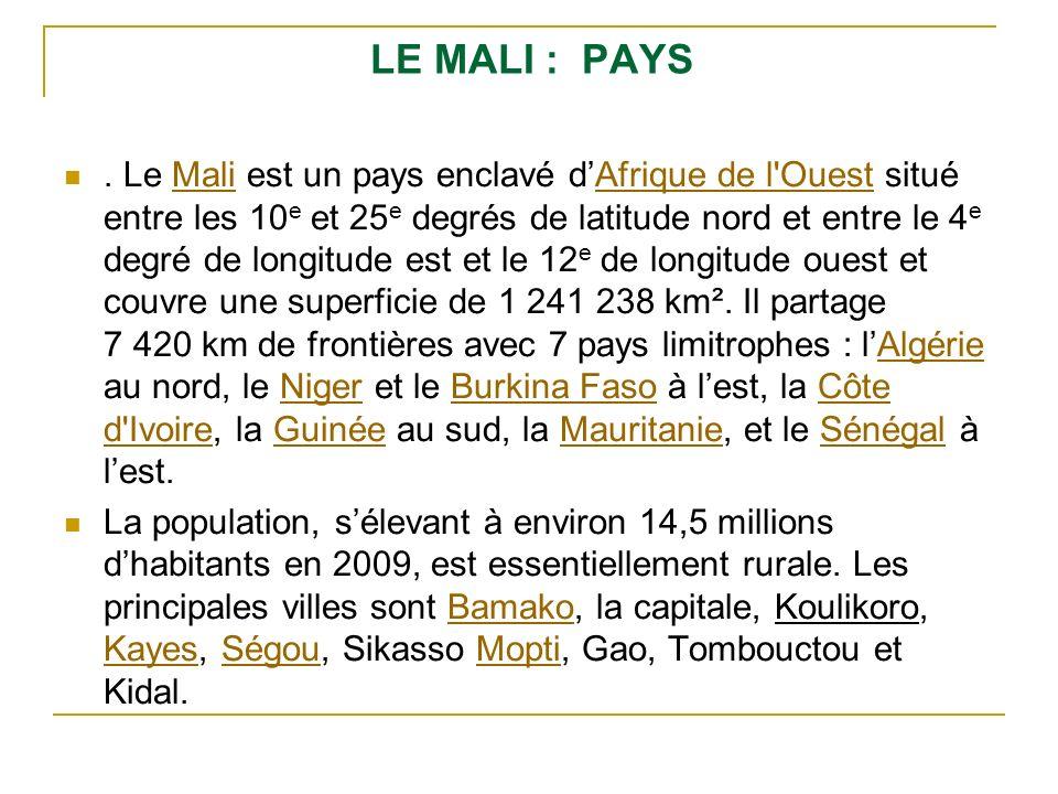 LE MALI : PAYS. Le Mali est un pays enclavé dAfrique de l'Ouest situé entre les 10 e et 25 e degrés de latitude nord et entre le 4 e degré de longitud