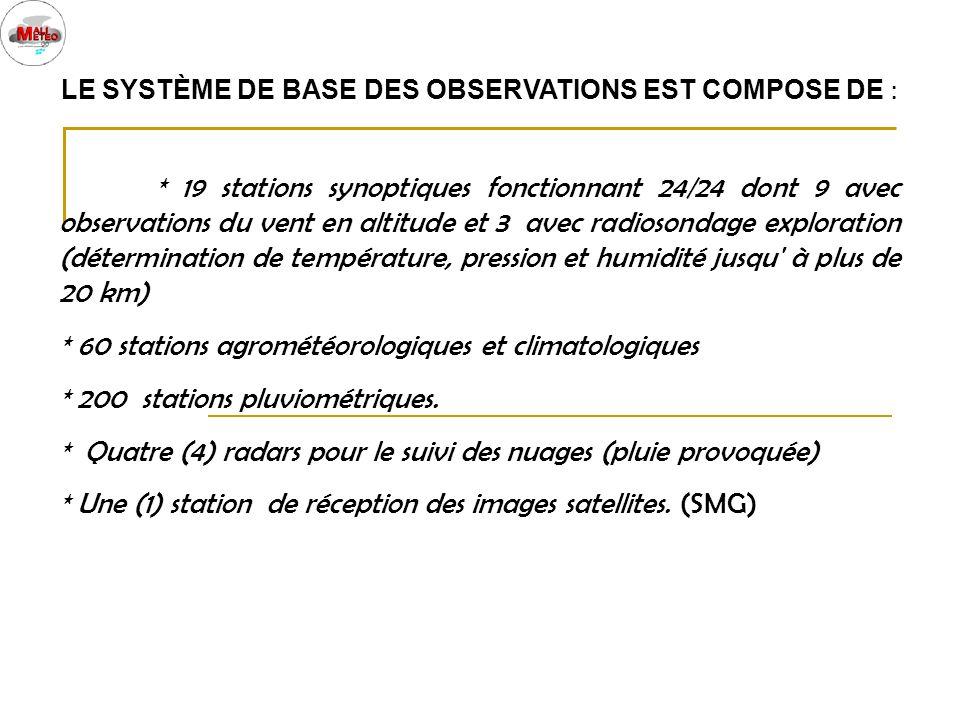 LE SYSTÈME DE BASE DES OBSERVATIONS EST COMPOSE DE : * 19 stations synoptiques fonctionnant 24/24 dont 9 avec observations du vent en altitude et 3 av