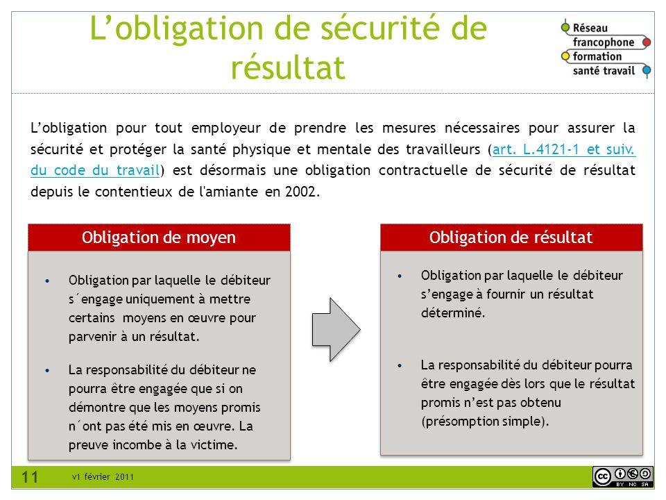 v1 février 2011 Lobligation de sécurité de résultat Obligation par laquelle le débiteur sengage à fournir un résultat déterminé.