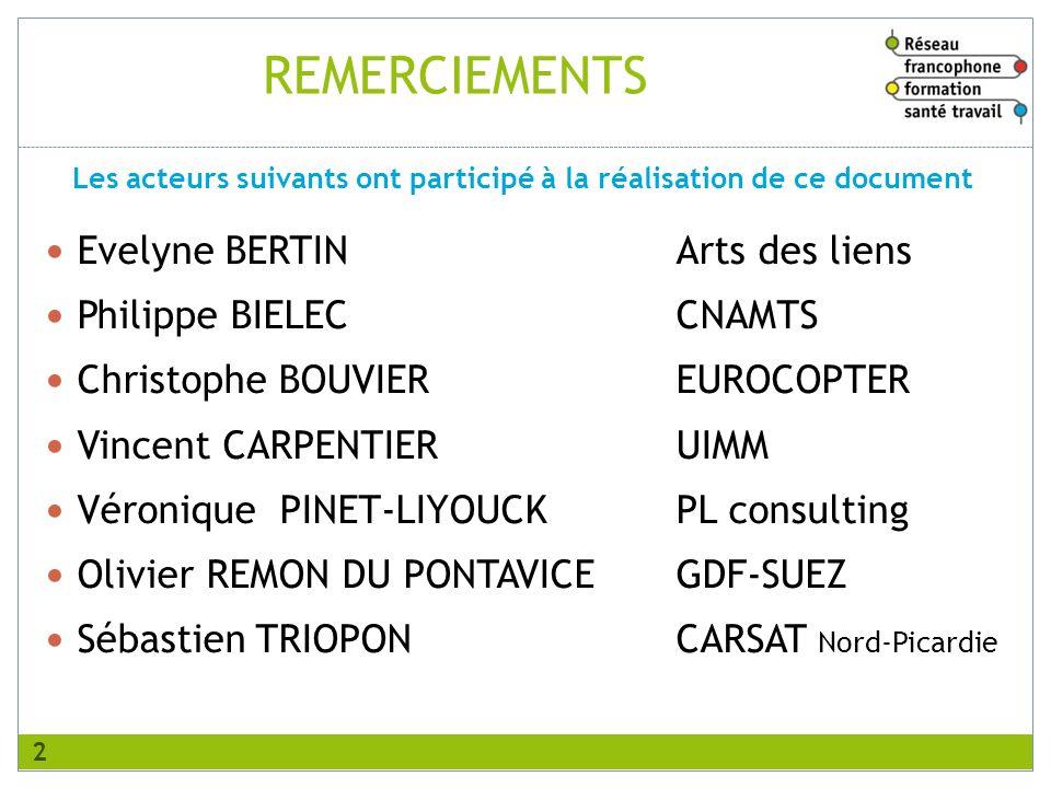 REMERCIEMENTS Evelyne BERTINArts des liens Philippe BIELECCNAMTS Christophe BOUVIEREUROCOPTER Vincent CARPENTIERUIMM Véronique PINET-LIYOUCKPL consult