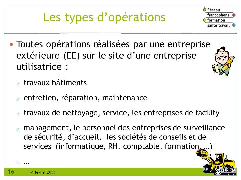 v1 février 2011 Toutes opérations réalisées par une entreprise extérieure (EE) sur le site dune entreprise utilisatrice : o travaux bâtiments o entret