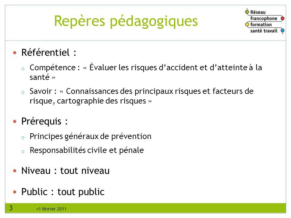 v1 février 2011 Repères pédagogiques Référentiel : o Compétence : « Évaluer les risques daccident et datteinte à la santé » o Savoir : « Connaissances