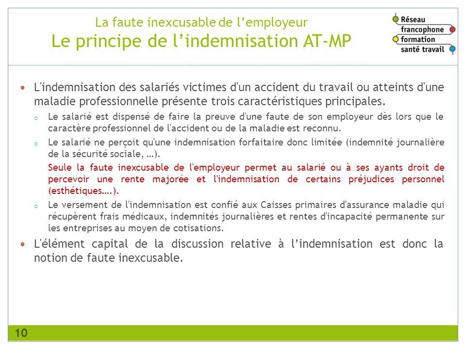 La faute inexcusable de lemployeur Le principe de lindemnisation AT-MP L'indemnisation des salariés victimes d'un accident du travail ou atteints d'un