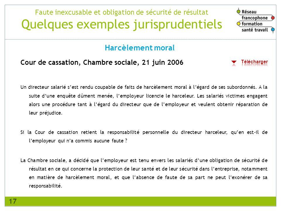 Faute inexcusable et obligation de sécurité de résultat Quelques exemples jurisprudentiels Cour de cassation, Chambre sociale, 21 juin 2006 Un directe