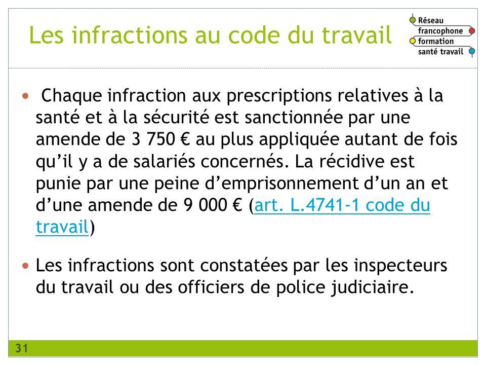 Les infractions au code du travail Chaque infraction aux prescriptions relatives à la santé et à la sécurité est sanctionnée par une amende de 3 750 a