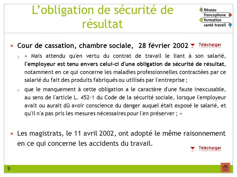 Lobligation de sécurité de résultat Cour de cassation, chambre sociale, 28 février 2002 o « Mais attendu qu'en vertu du contrat de travail le liant à