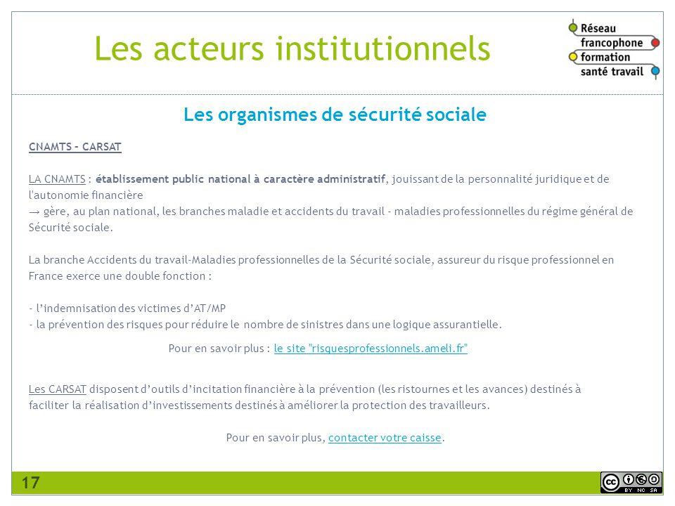 Les acteurs institutionnels CNAMTS – CARSAT LA CNAMTS : établissement public national à caractère administratif, jouissant de la personnalité juridiqu