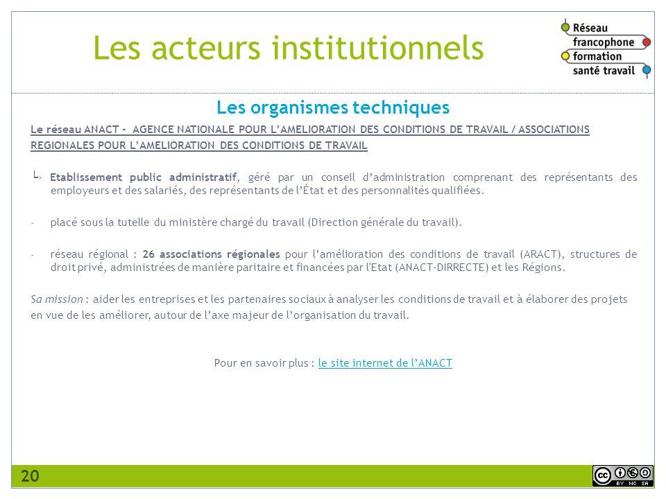 Les acteurs institutionnels Le réseau ANACT - AGENCE NATIONALE POUR LAMELIORATION DES CONDITIONS DE TRAVAIL / ASSOCIATIONS REGIONALES POUR LAMELIORATI