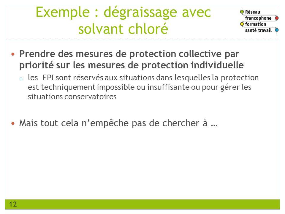 Exemple : dégraissage avec solvant chloré Prendre des mesures de protection collective par priorité sur les mesures de protection individuelle o les E