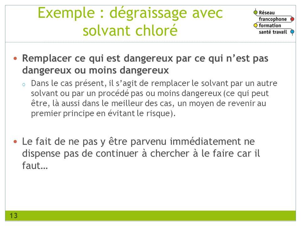 Exemple : dégraissage avec solvant chloré Remplacer ce qui est dangereux par ce qui nest pas dangereux ou moins dangereux o Dans le cas présent, il sa