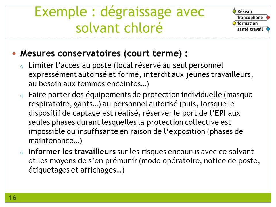 Exemple : dégraissage avec solvant chloré Mesures conservatoires (court terme) : o Limiter laccès au poste (local réservé au seul personnel expresséme