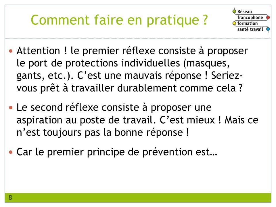 Comment faire en pratique ? Attention ! le premier réflexe consiste à proposer le port de protections individuelles (masques, gants, etc.). Cest une m