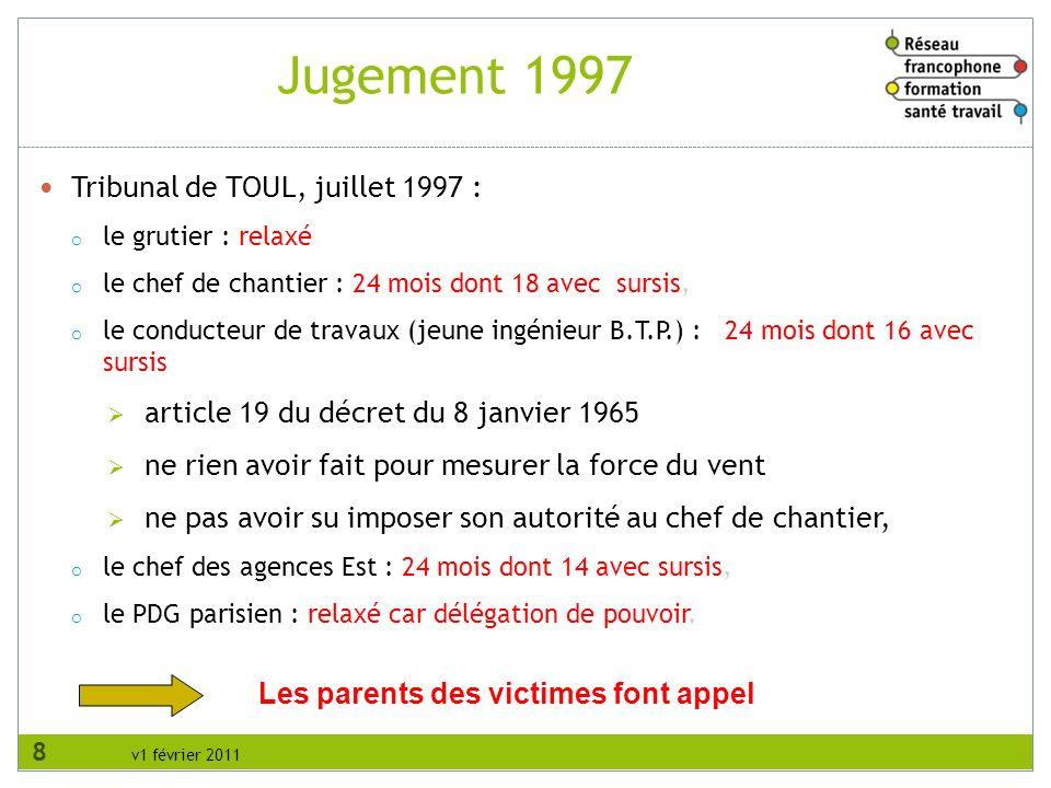 v1 février 2011 Tribunal de TOUL, juillet 1997 : o le grutier : relaxé o le chef de chantier : 24 mois dont 18 avec sursis, o le conducteur de travaux