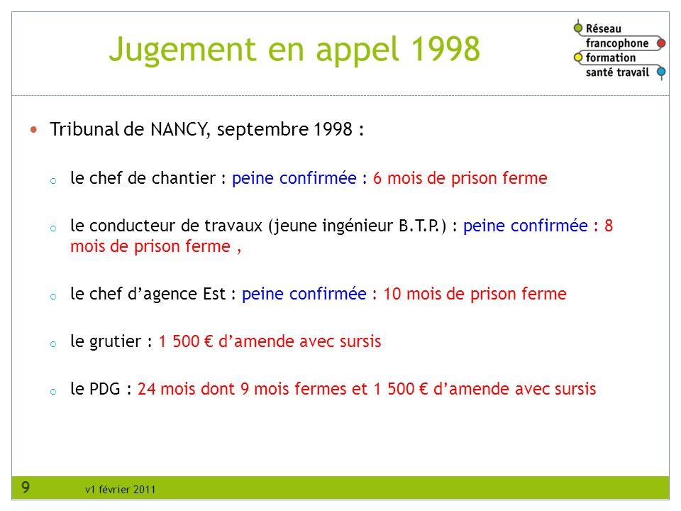 v1 février 2011 Tribunal de NANCY, septembre 1998 : o le chef de chantier : peine confirmée : 6 mois de prison ferme o le conducteur de travaux (jeune