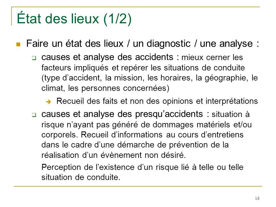 18 État des lieux (1/2) Faire un état des lieux / un diagnostic / une analyse : causes et analyse des accidents : mieux cerner les facteurs impliqués