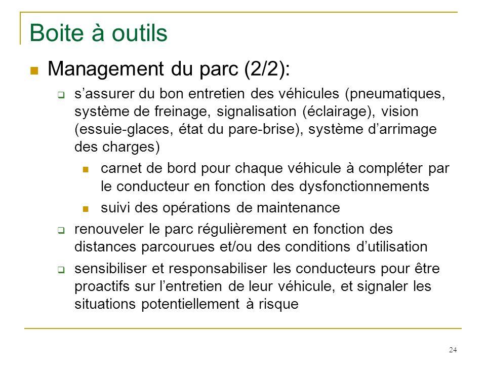 24 Boite à outils Management du parc (2/2): sassurer du bon entretien des véhicules (pneumatiques, système de freinage, signalisation (éclairage), vis