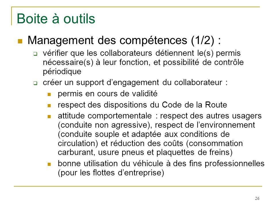 26 Boite à outils Management des compétences (1/2) : vérifier que les collaborateurs détiennent le(s) permis nécessaire(s) à leur fonction, et possibi