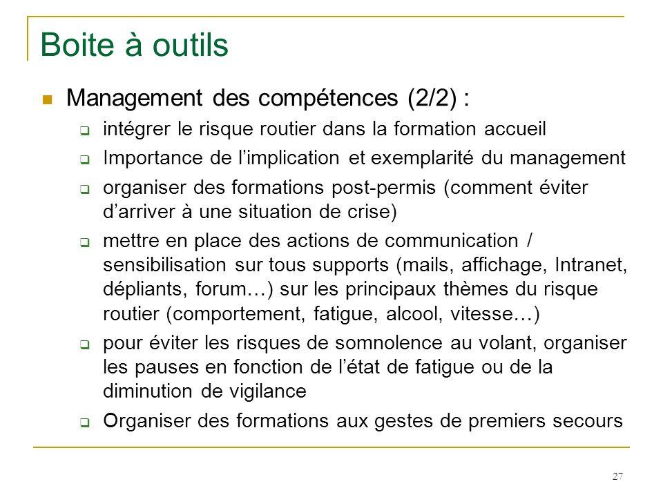 27 Boite à outils Management des compétences (2/2) : intégrer le risque routier dans la formation accueil Importance de limplication et exemplarité du