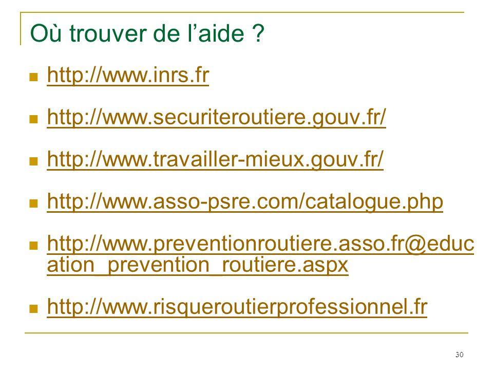30 Où trouver de laide ? http://www.inrs.fr http://www.securiteroutiere.gouv.fr/ http://www.travailler-mieux.gouv.fr/ http://www.asso-psre.com/catalog