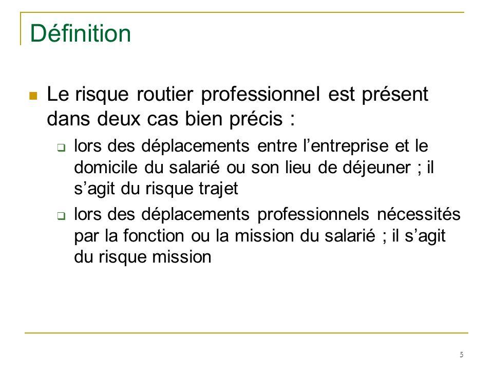 5 Définition Le risque routier professionnel est présent dans deux cas bien précis : lors des déplacements entre lentreprise et le domicile du salarié