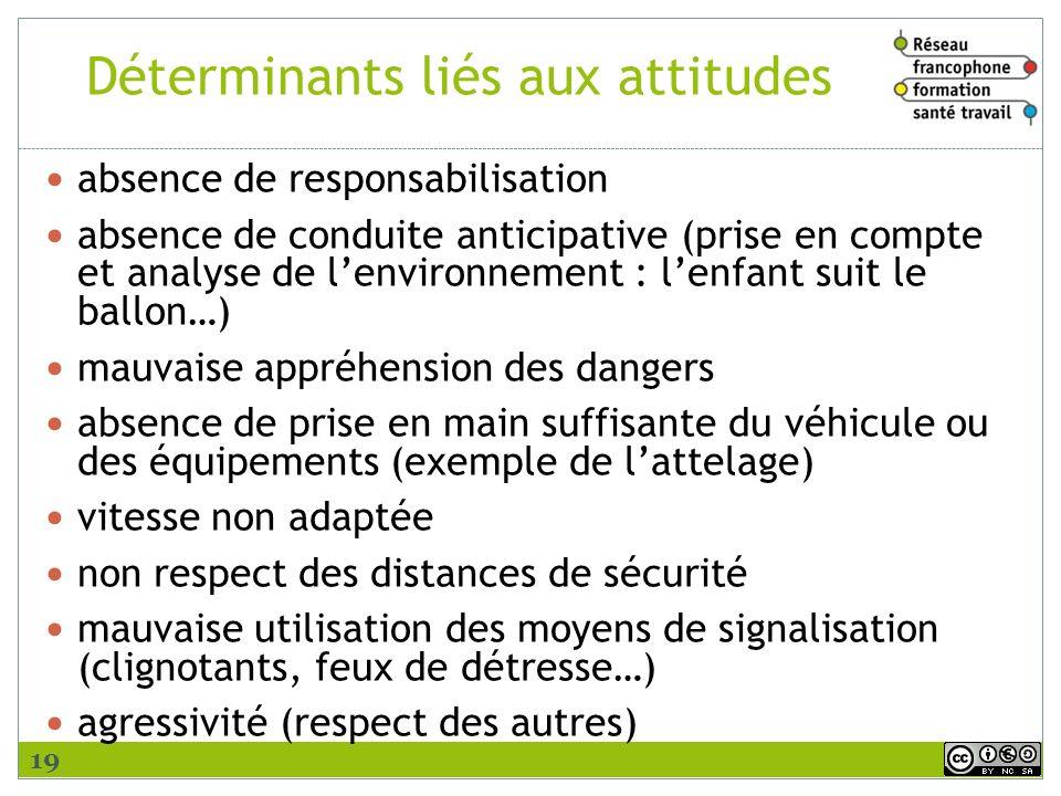 Déterminants liés aux attitudes absence de responsabilisation absence de conduite anticipative (prise en compte et analyse de lenvironnement : lenfant