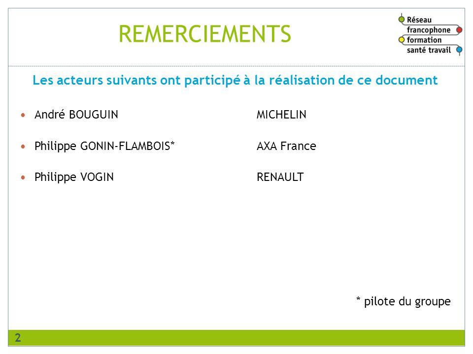 REMERCIEMENTS André BOUGUINMICHELIN Philippe GONIN-FLAMBOIS*AXA France Philippe VOGINRENAULT * pilote du groupe Les acteurs suivants ont participé à l