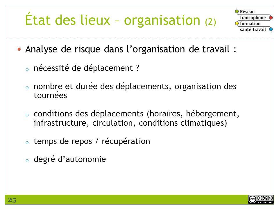État des lieux – organisation (2) Analyse de risque dans lorganisation de travail : o nécessité de déplacement ? o nombre et durée des déplacements, o