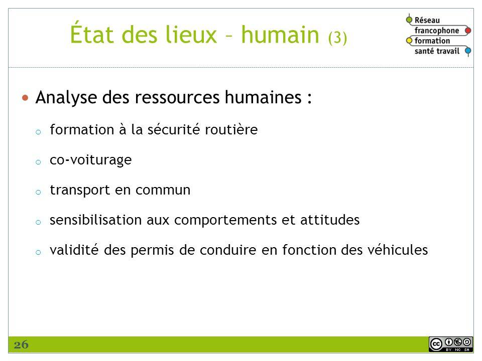 État des lieux – humain (3) Analyse des ressources humaines : o formation à la sécurité routière o co-voiturage o transport en commun o sensibilisatio