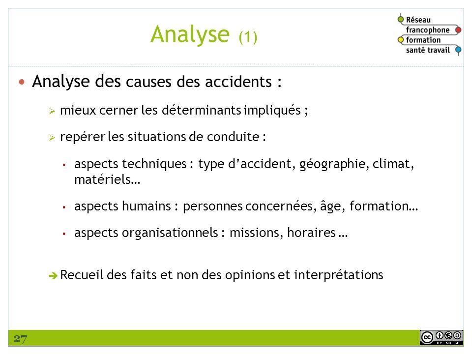 Analyse (1) Analyse des causes des accidents : mieux cerner les déterminants impliqués ; repérer les situations de conduite : aspects techniques : typ