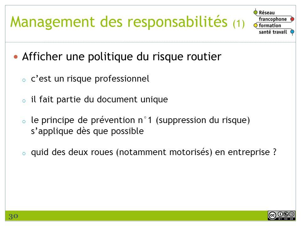 Management des responsabilités (1) Afficher une politique du risque routier o cest un risque professionnel o il fait partie du document unique o le pr