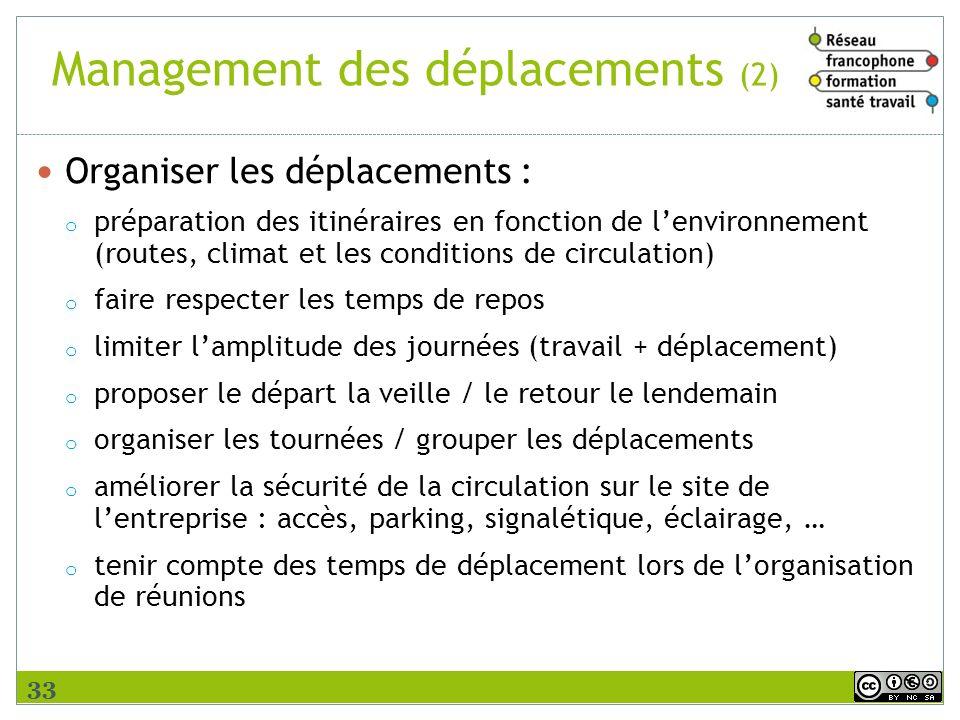 Management des déplacements (2) Organiser les déplacements : o préparation des itinéraires en fonction de lenvironnement (routes, climat et les condit