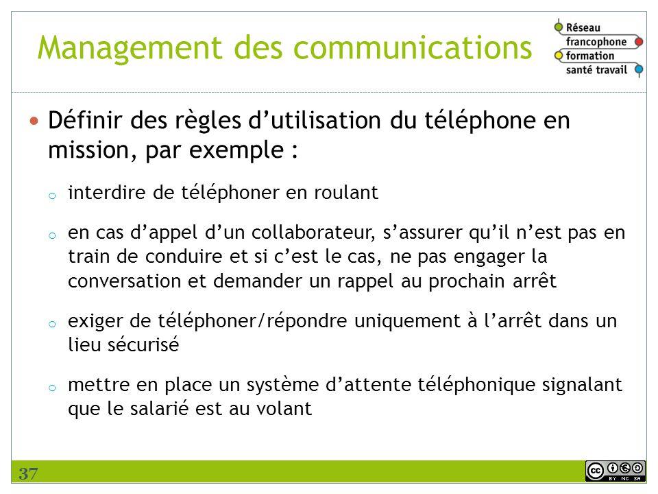 Management des communications Définir des règles dutilisation du téléphone en mission, par exemple : o interdire de téléphoner en roulant o en cas dap