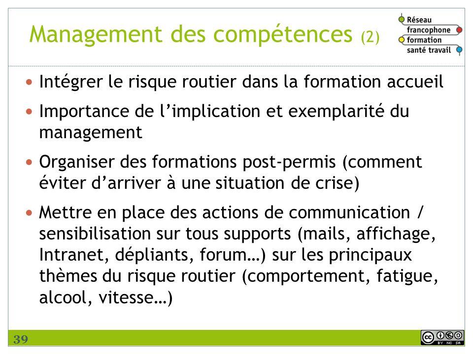 Management des compétences (2) Intégrer le risque routier dans la formation accueil Importance de limplication et exemplarité du management Organiser