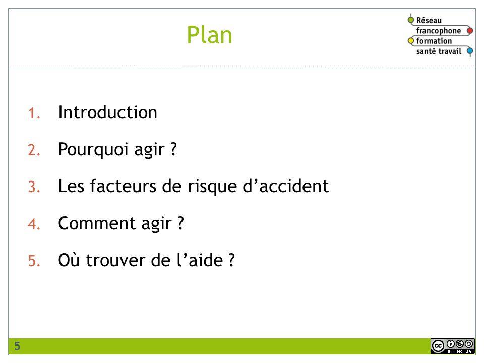Plan 1. Introduction 2. Pourquoi agir ? 3. Les facteurs de risque daccident 4. Comment agir ? 5. Où trouver de laide ? 5